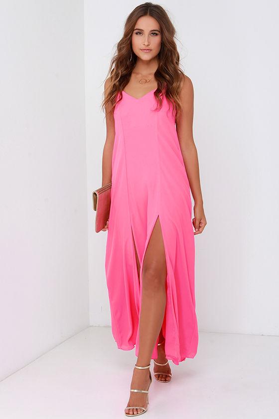Hot Pink Dress - Maxi Dress - $48.
