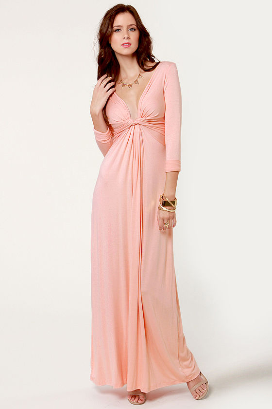 Cute Pink Dress - Maxi Dress - Long Sleeve Dress - $40.