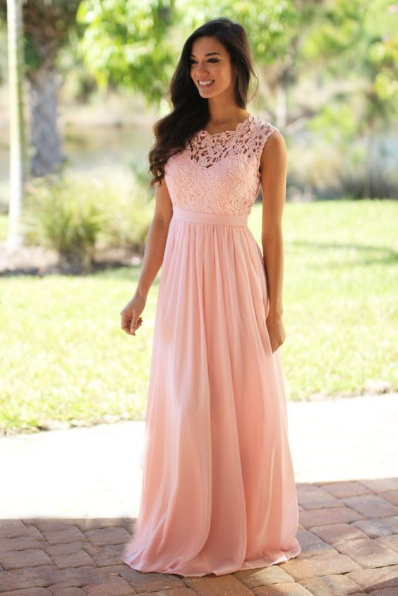 Pink Lace Chiffon Prom Dress, Pink Maxi Dresses, Pink | la