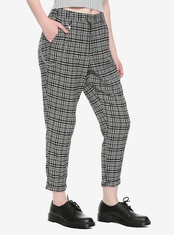Grey Plaid Pants With Detachable Cha