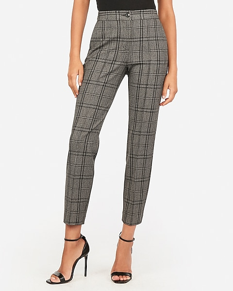 High Waisted Plaid Ankle Pant | Expre