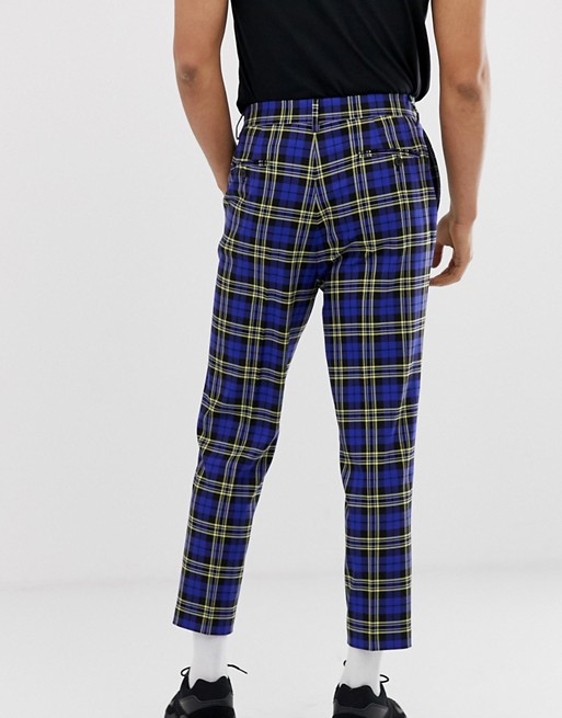 ASOS DESIGN tapered crop smart pants in blue plaid | AS