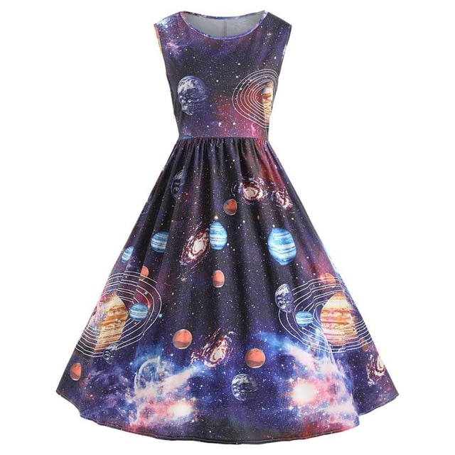 Women Vintage Printing Starry Sky Planet Space Dress erotic plus .