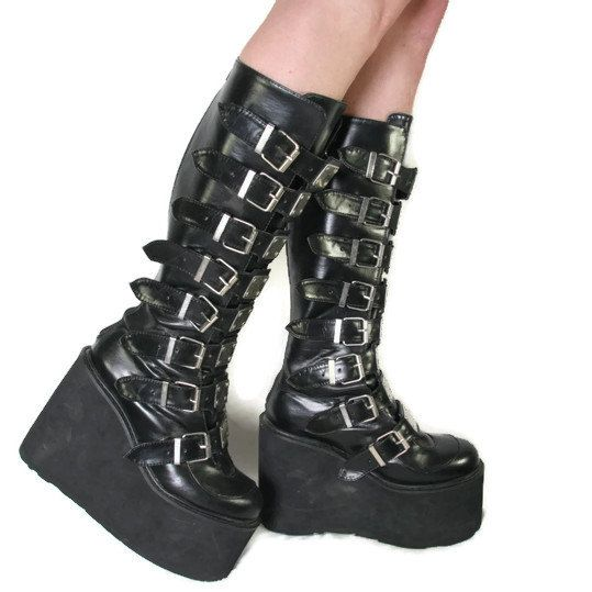 Chunky Goth Platform Boots - Vegan Leather - Cyber Goth Boots .
