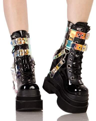 Demonia Eternal Holo Platform Boots - iHeartRav