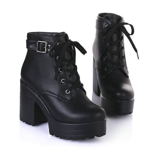 Platform Boots Black - SugarSweet.