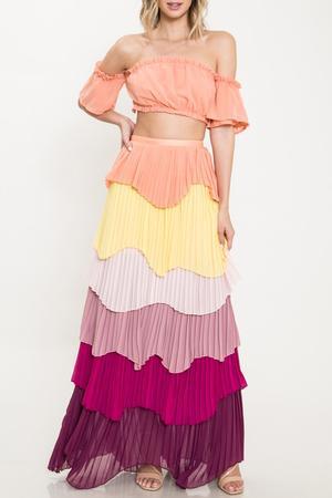 All The Frills Pleated Maxi Skirt Set – Rag & Muff