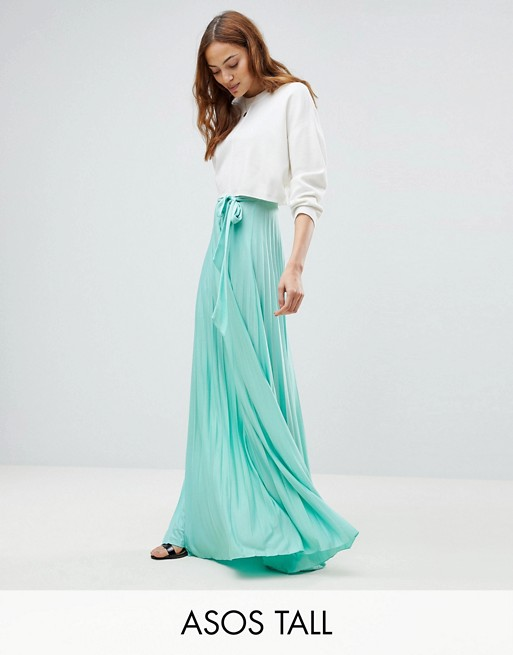 ASOS TALL pleated maxi skirt with belt | AS