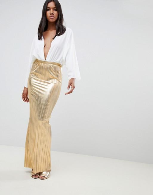 Rare London metallic pleated maxi skirt | AS