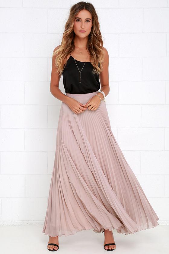 Mauve Skirt - Maxi Skirt - Pleated Skirt - High-Waisted Skirt - $65.