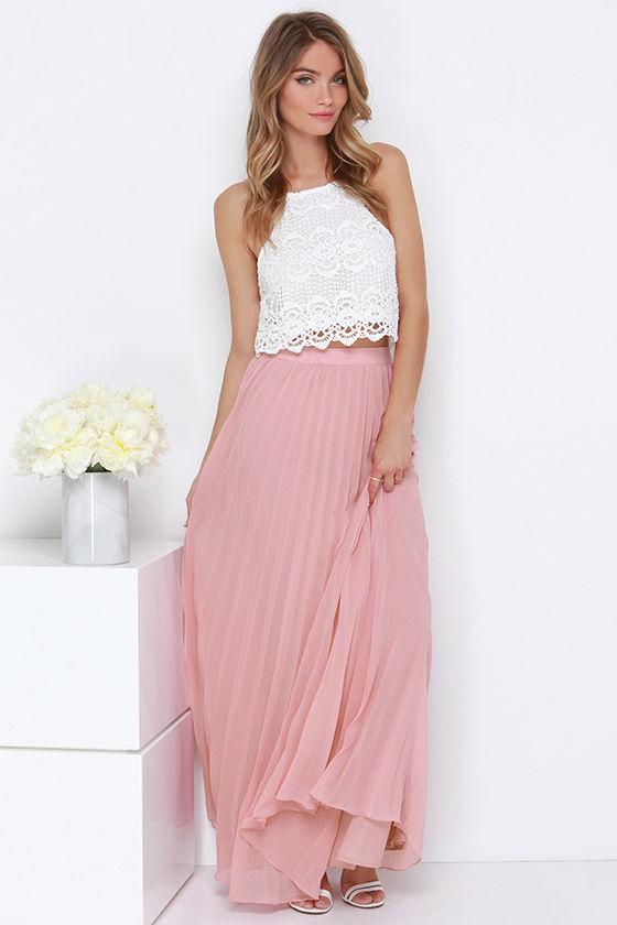 Blush Skirt - Pleated Skirt - Maxi Skirt - $64.