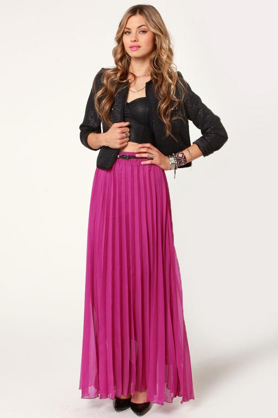 Pretty Pleated Skirt - Fuchsia Skirt - Maxi Skirt - $44.
