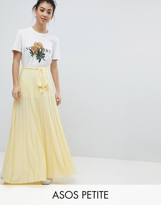 ASOS DESIGN Petite pleated maxi skirt with belt | AS