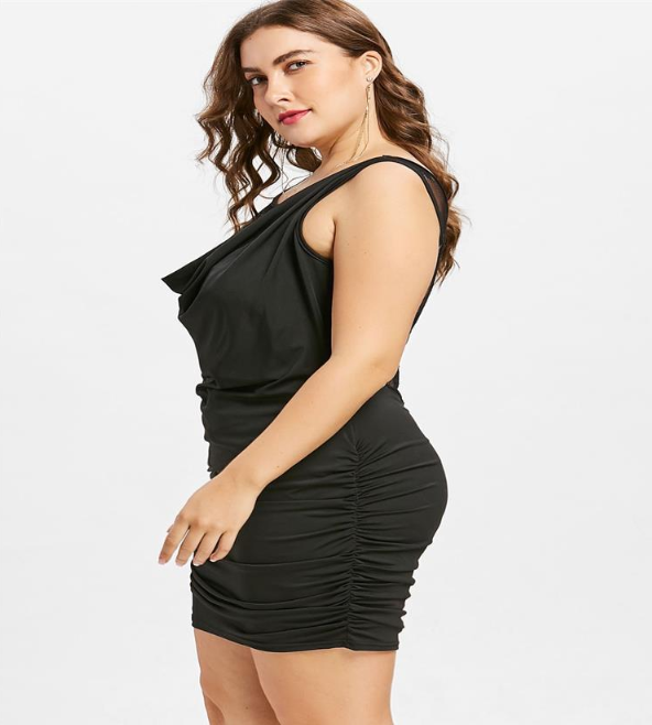 Lace Panel Plus Size Draped Club Dress | bestdress1.c