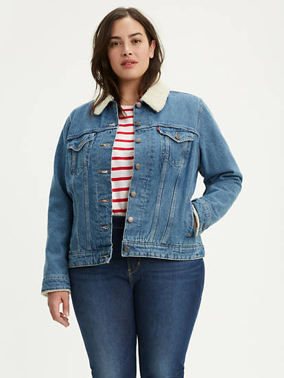 Sherpa Trucker Jacket (plus Size) - Light Wash | Levi's®