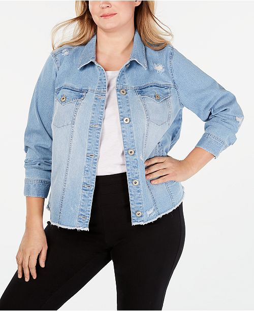 Style & Co Plus Size Destructed Jean Jacket, Created for Macy's .