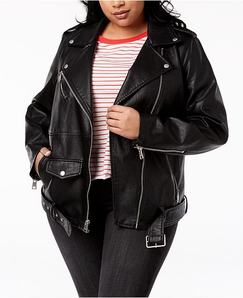 Levi's Trendy Plus Size Faux-Leather Oversized Moto Jacket .