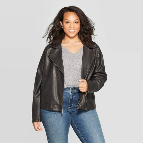 Women's Plus Size Moto Jacket - Universal Thread™ Black : Targ