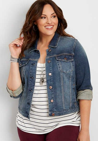 plus size dark wash denim jacket - alternate image | Plus size .
