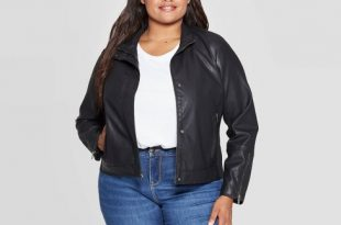 Women's Plus Size Faux Leather Moto Jacket - Ava & Viv™ Black : Targ
