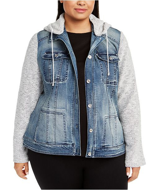 INC International Concepts INC Plus Size Knit-Sleeve Denim Jacket .