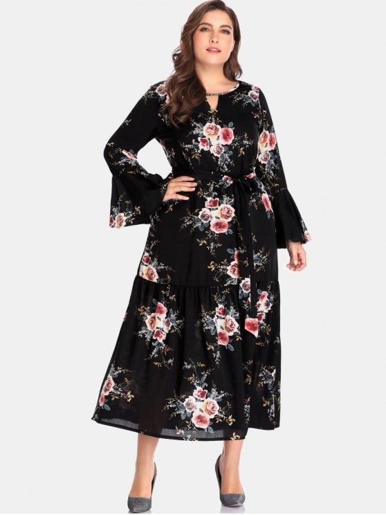 25% OFF] 2020 Floral Cutout Plus Size Maxi Dress In BLACK | ZAFUL .