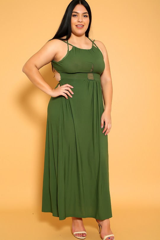 Sexy Olive Strappy Sleeveless Plus Size Maxi Dre