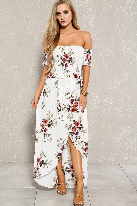 Sexy White Floral Off The Shoulder Plus Size Maxi Dre