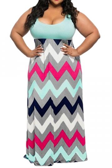 Womens Plus Size Zigzag Printed Maxi Tank Dress Light Blue - PINK .