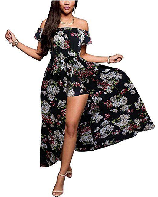 PLUS SIZE Maxi Split Romper Dress Black 3XL | Maxi romper dress .