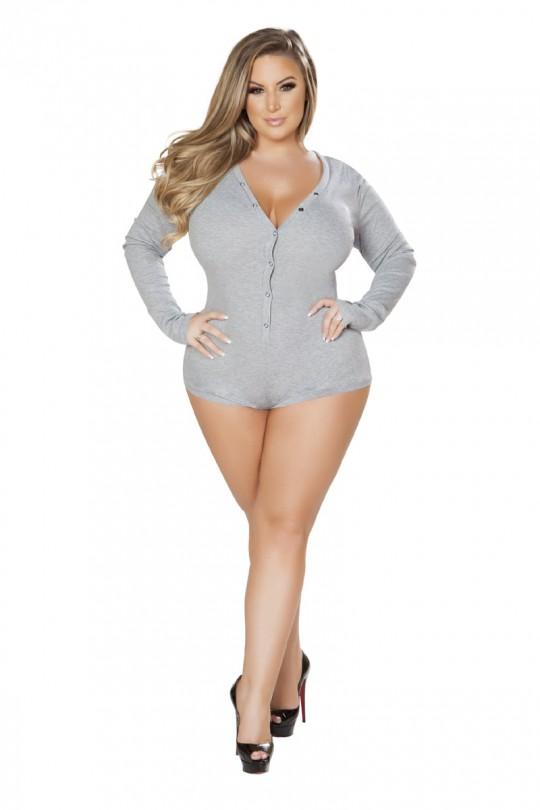 Sexy Grey Cozy Sweater Plus Size Romp