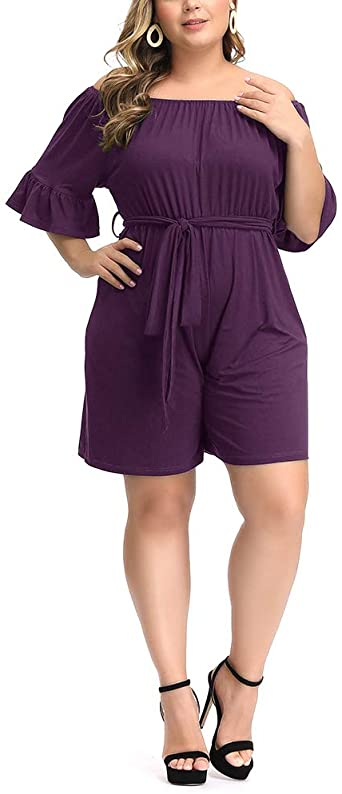Amazon.com: Allegrace Women's Plus Size Rompers Summer Off .