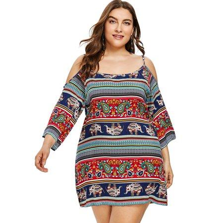 Nextmia - Sexy Plus Size Dresses Open Shoulder Ethnic Mini Plus .