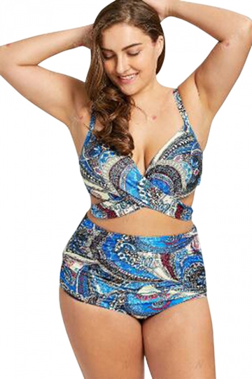 Womens Criss Cross High Waisted Wrap Two Piece Plus Size Swimsuit .