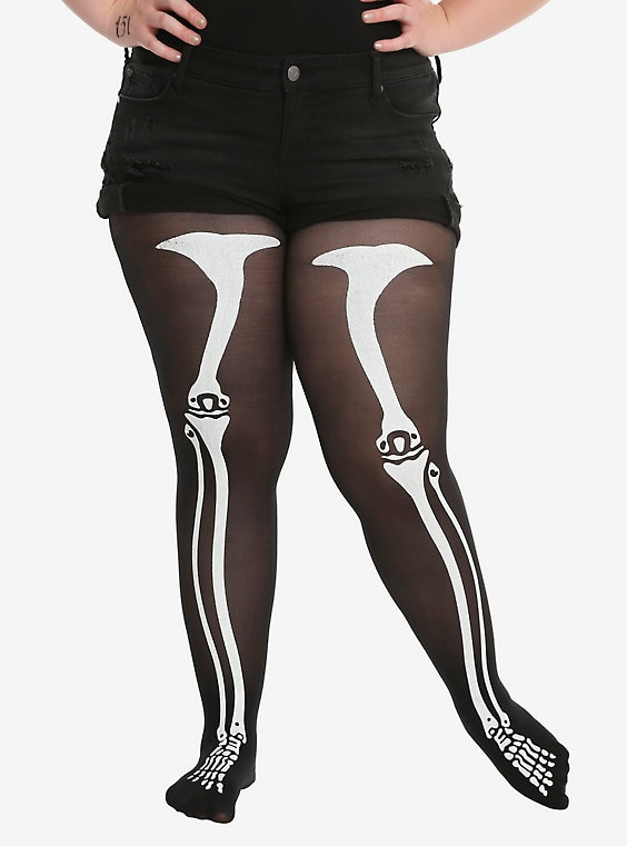 Skeleton Glow-In-The-Dark Tights Plus Si
