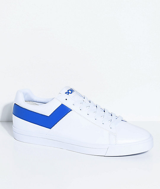 PONY Topstar Lo White & Royal Blue Shoes | Zumi