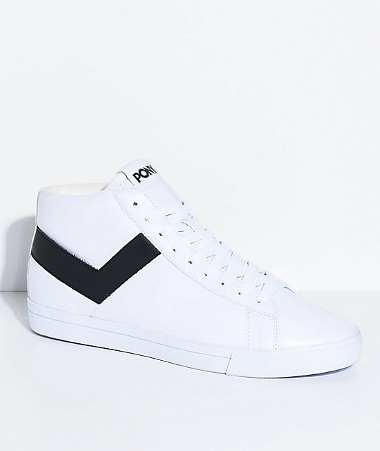PONY Topstar Hi White & Black Shoes | Zumi