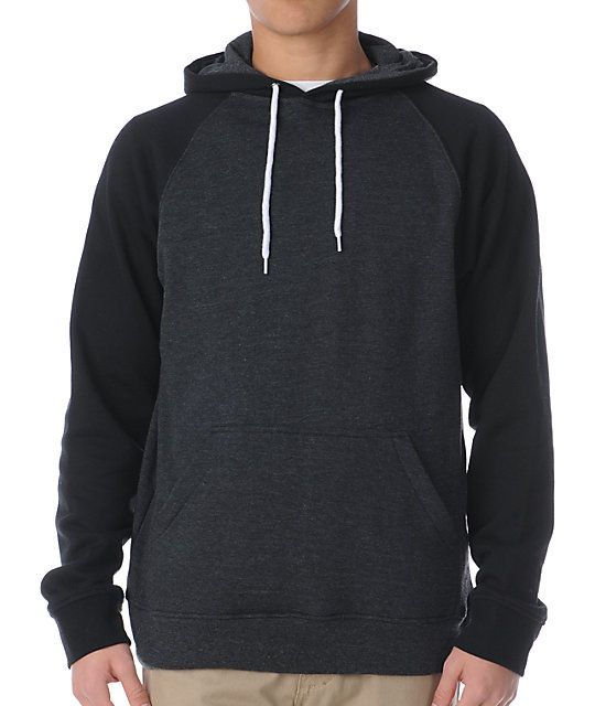 Zine Campus 2-Tone Black & Heather Charcoal Pullover Hoodie | Zumi