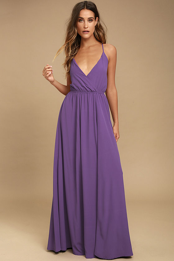 Lovely Purple Maxi Dress - Backless Maxi Dress - Lace-Up Maxi - $96.