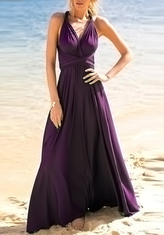Purple Sashes Draped Multi Way Bohemian Party Maxi Dress - Maxi .