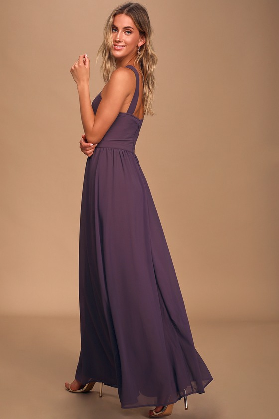 Beautiful Dusty Purple Dress - Maxi Dress - Halter Dre