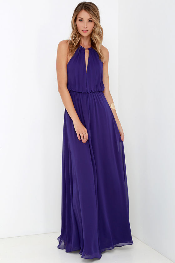 Lovely Purple Dress - Maxi Dress - Necklace Dress - $75.