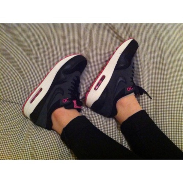 shoes, nike, nike air, air max, red, bottom shoes red, black .