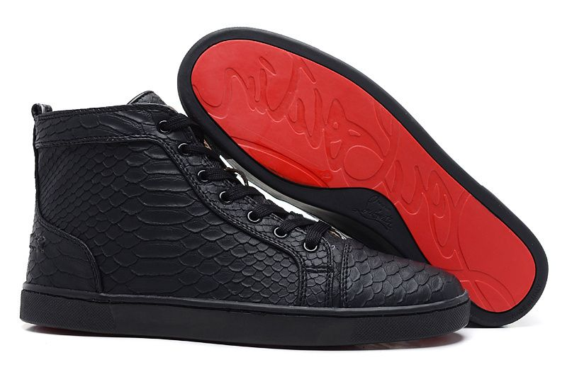 louie vuitton black studded, red bottom sneakers | fashion Red .