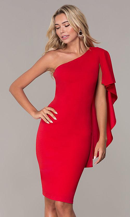 Short One-Shoulder Red Cocktail Dress - PromGi
