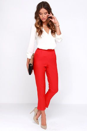 Trouser We Go Red High-Waisted Pants at Lulus.com! | Red high .