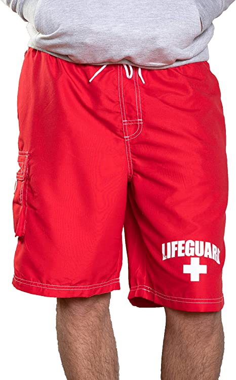 LIFEGUARD Officially Licensed Red Men's Board Shorts Swim Trunks .