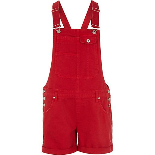 Bright red short denim dungarees | Red shorts, Dungarees shorts .