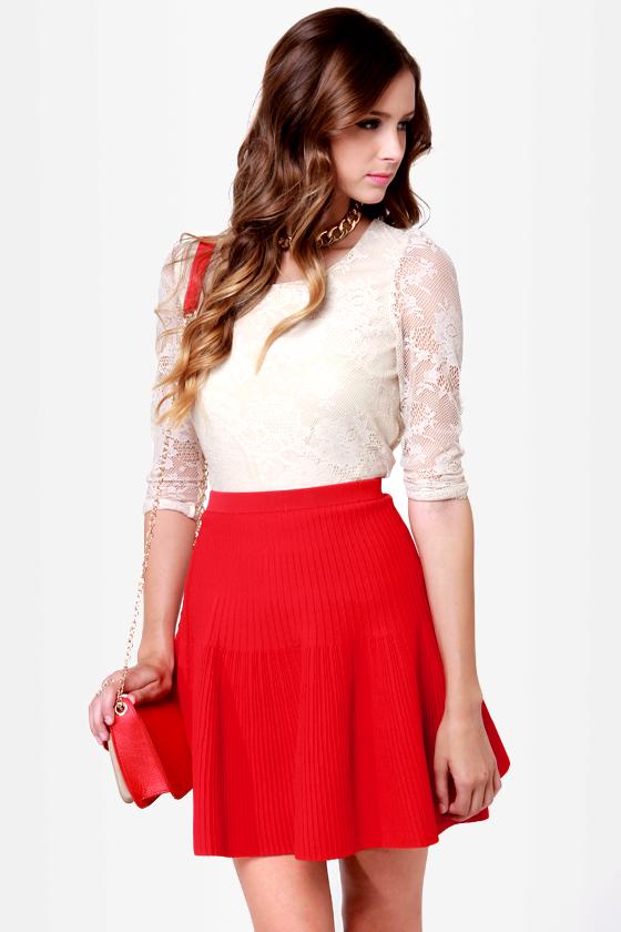Cute Red Skirt - Flared Skirt - Knit Skirt - $50.