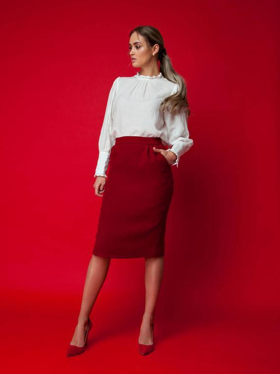 Pencil skirt wool skirt red skirt winter skirt midi skirt | Et
